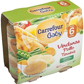 Carrefour Baby Tarrito de verduras pollo y ternera Pack 2x250 g