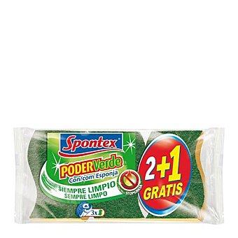 Spontex Estropajo poder verde con esponja 2+1 3 ud