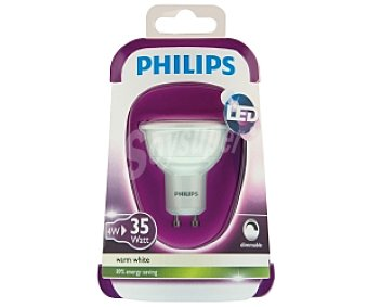 Philips Foco led 4W( equivalencia 35W) ,casquillo GU10, blanca cálida, 230V Forma MR16 Regulable 1u