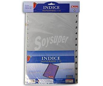 Auchan Bolsa índice numérico de 1-12, de tamaño folio y con multitaladro auchan 1-12