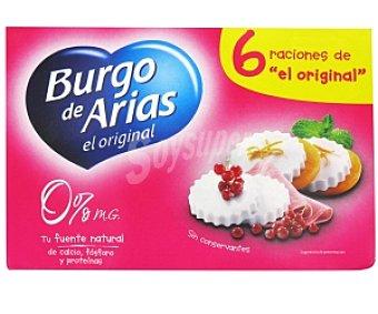 Burgo de Arias Queso fresco natural 0% materia grasa 6 Unidades de 62,5 Gramos