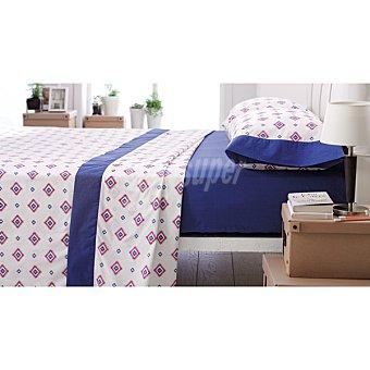 CASACTUAL Cádiz Juego de sábanas geométrico con bajera y cenefa en color azul