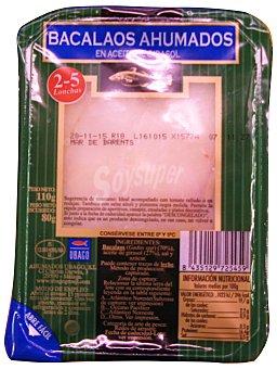 Ubago Bacalao ahumado aceite girasol 2-4 lonchas Paquete de 80 g escurrido
