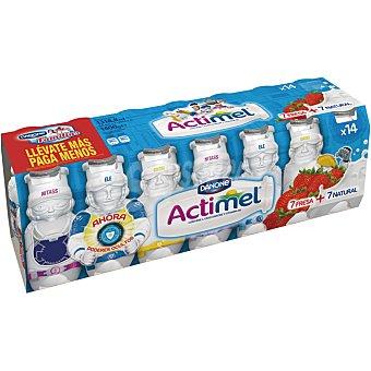 Actimel Danone Yogur líquido natural / fresa Pack de 14x100 g