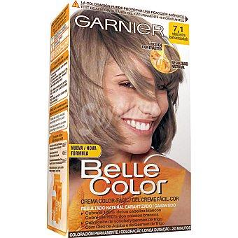 Belle Color Garnier Tinte rubio ceniza nº 7.1 con aceite de jojoba y germen de trigo coloración permanente caja 1 unidad Caja 1 unidad