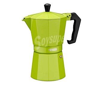 MONIX Cafetera italiana de 6 tazas fabricada en aluminio color verde lima, apta para vitrocerámicas 1 unidad.