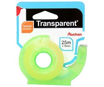 Auchan Cinta adhesiva transparente de 19 milímetros y 25 metros, con dispensador 1 unidad