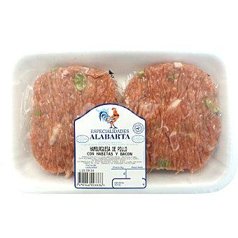 Alabarta Hamburguesas de pollo, habitas y bacon 4 unidades peso aproximado bandeja 350 g 4 unidades