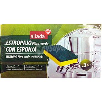 Aliada Estropajo fibra verde con esponja Envase 3 unidades