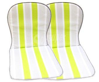 Productos Económicos Alcampo Cojínes para sillas con respaldo bajo de rayas verdes y grises 2 unidades