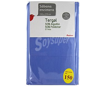 AUCHAN Sábana encimera color lavanda, 150 centímetros 1 Unidad