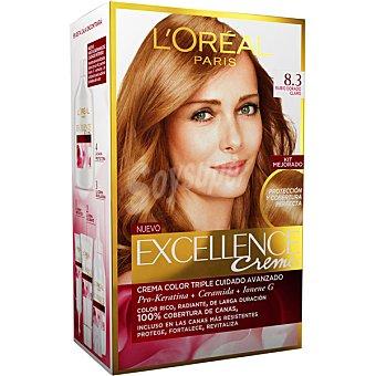 Excellence L'Oréal Paris Tinte Rubio Claro Dorado nº 8.3 crema color triple cuidado caja 1 unidad con Pro-keratina + Ceramida + Ionene G Caja 1 unidad
