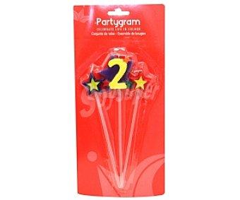 Partygram Velas (2 estrellas y número 2) Pack de tres