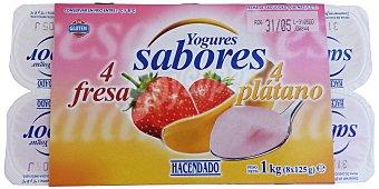 Hacendado Yogur fresa platano Pack 8 x 125 g - 1 kg