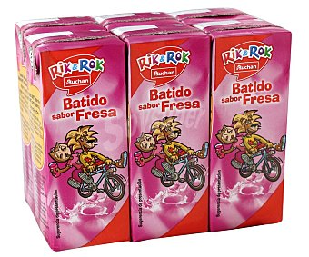 Rik&Rok Auchan Batido de fresa rik&rok 200 milils Pack de 6 uds