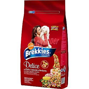 Brekkies Affinity Comida para gato deliciosas croquetas rellenas de pollo y codorniz con verduras  bolsa 1,5 kg