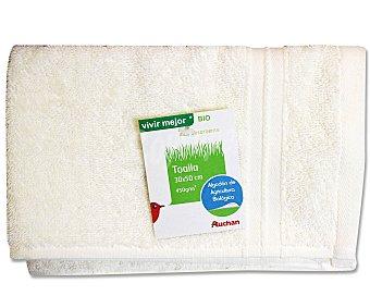 Auchan Toalla de algodón lisa para tocador, color crudo, 30x50 centímetros 1 Unidad