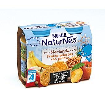 Naturnes Nestlé Merienda de frutas selectas con galleta a partir de 4 meses Pack 2 x 200 g