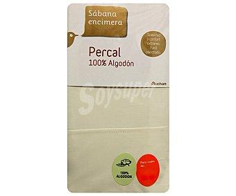Auchan Sábana encimera de percal 100% algodón para cama doble, color crudo 1 unidad