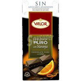 VALOR Choco puro sin azucar con naranja 125 g