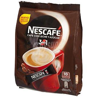 Nescafé Café soluble 3 en 1 (café+leche+azúcar) 10 uds. de 18 gr