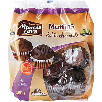 MONTES LARA INPANASA Muffins doble chocolate Paquete 450 g