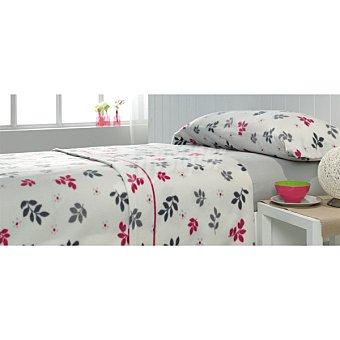 CASACTUAL juego de cama pirineo con hojas en color gris y vino para cama 105 cm