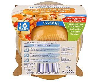 Hero Baby Tarritos de verduras de la huerta con pavo y pasta desde 6 meses estuche 400 g Cocina Mediterránea pack 2x200 g