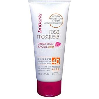 BABARIA rosa mosqueta crema solar facial color FP-40 tubo 100 ml