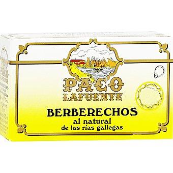 PACO LAFUENTE Berberechos de las rías gallegas al natural 35-40 piezas lata 65 g neto escurrido