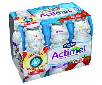 Actimel Danone Yogur líquido lactocasei con sabor a fresa 6 unidades de 100 gramos