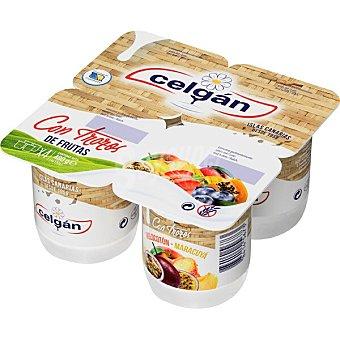 Celgán Yogur con trozos de melocotón y maracuyá sin gluten Pack 4 unidades 120 g