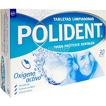 Polident Bio Fórmula Doble Acción efervescentes para prótesis dentales Caja 30 unidades