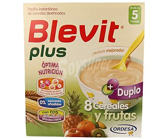 Blevit Plus Duplo papilla instantánea de 8 cereales y frutas desde los 5 meses Caja 600 g
