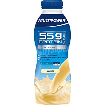 Multipower Batido de proteína 55g sin carbohidratos sabor vainilla botella 500 ml 55g