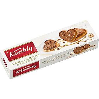 KAMBLY Coeur aux Noisettes galletas corazón recubiertas de chocolate Estuche 100 g