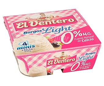 El Ventero Queso fresco desnatado de Burgos 4 unidades de 62,5 gramos