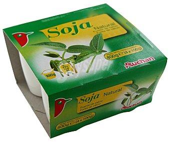 Auchan Yogur de soja natural 4 unidades de 100 gramos