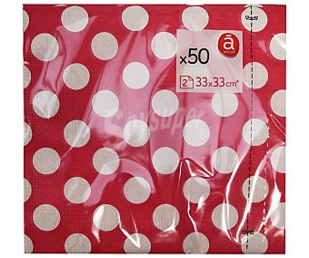 Actuel Servilletas con topos color rosa, 2 capas, 33x33 centímetros 50 unidades