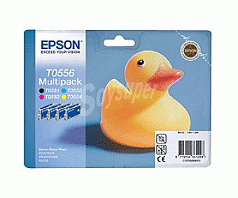 Epson Pack de cartuchos tinta T0556, Negro + 3 colores, compatible con impresoras: Stylus Photo R240, RX245, RX420, RX425, RX520