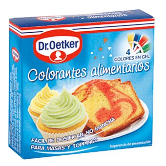 Dr. Oetker Colorantes alimentarios 4 colores en gel para masas y toppings Estuche 40 g