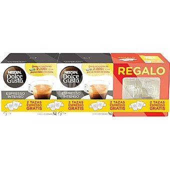 Dolce Gusto Nescafé Café espresso intenso pack 2 envases 16 cápsulas con regalo de 2 tazas pack 2 envases 16 c