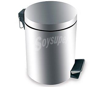 PROTENROP Cubo de baño de acero inoxidable, con pedal, capacidad de 3 litros, color cromado acabado brillo 1 Unidad