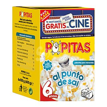 Borges Palomitas para microondas Popitas  6 unidades de 100 g