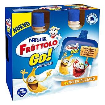 Nestlé-Fruttolo Petit suisse líquido fresa y plátano 4 unidades de 80 g