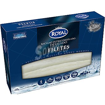 Pescados Royal Filetes desalado de bacalao ultracongelado Estuche 410 g neto escurrido