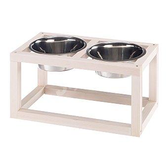 Ferplast Comedero doble para mascotas con base de madera capacidad 3,6 L 1 unidad