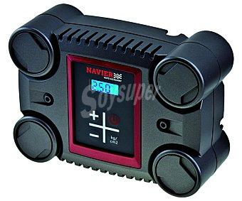 NAVIER Compresor de aire digital, con adaptador para toma de mechero (funciona a 110W y 8.5 Amperios), pantalla digital y boquillas para utilizarlo con distintos objetos 1 unidad