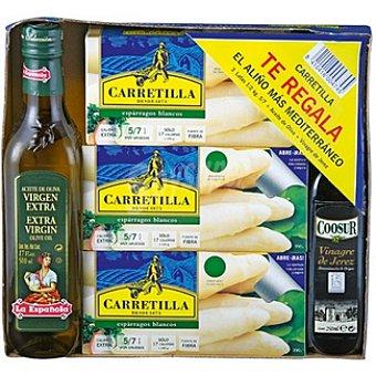 Carretilla espárragos blancos extra 5 -7 piezas neto escurrido + regalo de aceite de oliva La Española 500 ml+vinagre D.O. Jerez Coosur 250 ml pack 3 latas 250 g