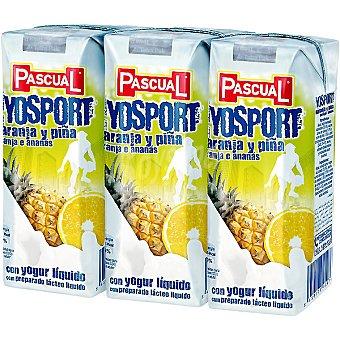Pascual Zumo de naranja y piña con yogurt líquido Yosport pack 3 envases 200 ml